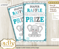 Peanut Unisex Diaper Raffle Printable Tickets for Baby Shower, Teal Gray, Chevron