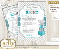 Printable Peanut Unisex Price is Right Game Card for Baby Unisex Shower, Teal Gray, Chevron