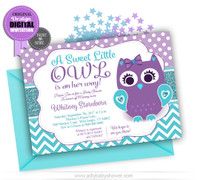 Owl Baby Shower Invitation in Purple and Teal, turquoise theme.