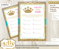 Princess  Royal Guess Baby Food Game or Name That Baby Food Game for a Baby Shower, Pink Turquoise Crown