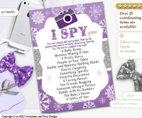 I Spy girl snowflake purple silver baby shower game oz114bsP95