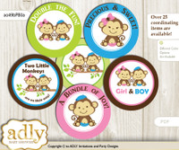 Baby Shower Monkeys Girl Boy Cupcake Toppers Printable File for Little Monkeys and Mommy-to-be, favor tags, circle toppers, Twins, Pink Blue Green