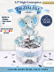 Boy Blue elephant centerpiece decoration- cake topper- birthday party decoration baby shower - cardboard