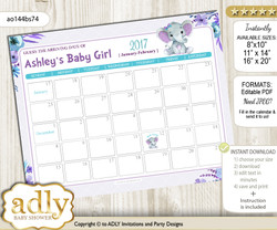 DIY Elephant Girl Baby Due Date Calendar, guess baby arrival date game n