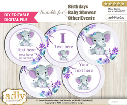 DIY Text Editable Elephant Girl Cupcake Toppers Digital File, print at home, suitable for birthday, baby shower, baptism n