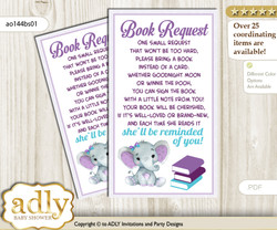 Request a Book Instead of a Card for Elephant Girl Baby Shower or Birthday, Printable Book DIY Tickets, floral, Purple Teal n