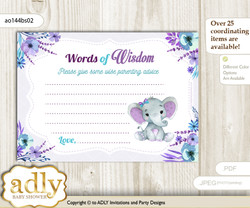 Purple Teal Elephant Girl Words of Wisdom or an Advice Printable Card for Baby Shower, floral n
