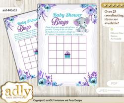 Printable Purple Teal Girl Bingo Game Printable Card for Baby Elephant Shower DIY grey, Purple Teal, floral n