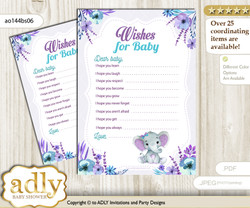 Elephant Girl Wishes for a Baby, Well Wishes for a Little Girl Printable Card, floral, Purple Teal n