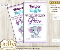Elephant Girl Diaper Raffle Printable Tickets for Baby Shower, Purple Teal, floral n