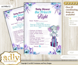 Printable Elephant Girl Price is Right Game Card for Baby Girl Shower, Purple Teal, floral n