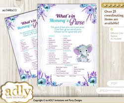 Elephant Girl What is in Mommy's Purse, Baby Shower Purse Game Printable Card , Purple Teal,  floral n