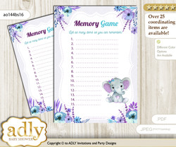 Elephant Girl Memory Game Card for Baby Shower, Printable Guess Card, Purple Teal, floral n
