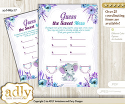 Elephant Girl Dirty Diaper Game or Guess Sweet Mess Game for a Baby Shower Purple Teal, floral n