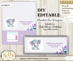 DIY Personalizable Elephant Girl Chocolate Bar Candy Wrapper Label for Elephant  baby shower, birthday Purple Teal , editable wrappers n