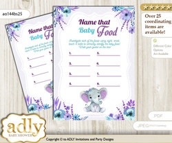 Elephant Girl Guess Baby Food Game or Name That Baby Food Game for a Baby Shower, Purple Teal floral n