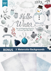 Hello Winter watercolor clipart snowman winter gloves winter hat cold snow snowflakes digital clipart Hello winter clipart flowers tree banner