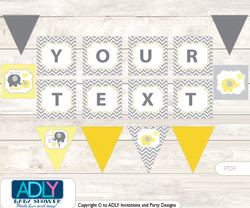 Personalized  Boy Elephant Printable Banner for Baby Shower, Yellow Grey,  Chevron