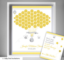 Babee Bumble Guest Book Alternative for a Baby Shower, Creative Nursery Wall Art Gift,  Bee,  Neutral