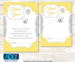 Babee Bumble thank you Cards for a Baby Babee Shower or Birthday DIY  Bee,  Neutral