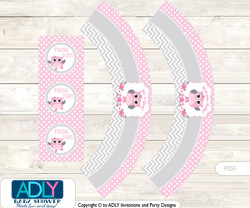 Printable Spring Owl Cupcake, Muffins Wrappers plus Thank You tags for Baby Shower Grey, Pink