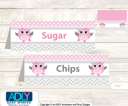 Printable Spring Owl Buffet Tags or Food Tent Labels  for a Baby Shower or Birthday , Grey, Pink