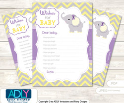 Purple Elephant Wishes for a Baby, Well Wishes for a Little Elephant Printable Card, Yellow, Grey