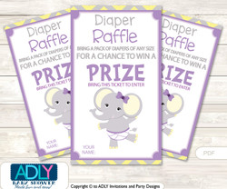 Purple Elephant Diaper Raffle Printable Tickets for Baby Shower, Grey, Yellow