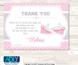 Girl Sneakers Thank you Printable Card with Name Personalization for Baby Shower or Birthday Party