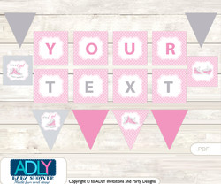 Personalized Girl Sneakers Printable Banner for Baby Shower, Pink, All Star