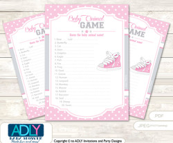 Printable Girl Sneakers Baby Animal Game, Guess Names of Baby Animals Printable for Baby Sneakers Shower, Pink, All Star
