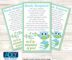 Request a Book Instead of a Card for Boy Owl Baby Shower or Birthday, Printable Book DIY Tickets, Blossom, Spring