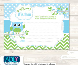 Spring Boy Owl Words of Wisdom or an Advice Printable Card for Baby Shower, Blossom