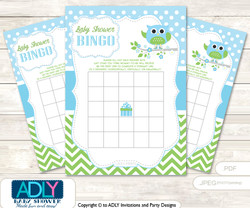 Printable Spring Owl Bingo Game Printable Card for Baby Boy Shower DIY grey, Spring, Blossom