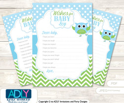 Boy Owl Wishes for a Baby, Well Wishes for a Little Owl Printable Card, Blossom, Spring
