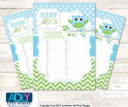 Boy Owl Baby ABC's Game, guess Animals Printable Card for Baby Owl Shower DIY –Blossom