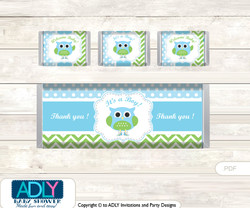 Boy Owl Chocolate Bar Wrapper and Nuggets Candy Wrapper Label for Baby Boy Shower  Spring , Blossom