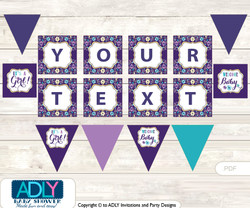 Personalized Girl Flower Printable Banner for Baby Shower, Purple Gold, Floral