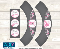Printable Girl Owl Cupcake, Muffins Wrappers plus Thank You tags for Baby Shower Forest, Spring