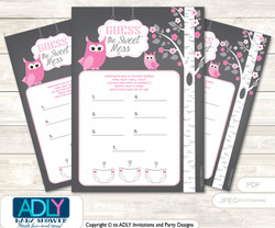 Girl Owl Dirty Diaper Game or Guess Sweet Mess Game for a Baby Shower Forest, Spring