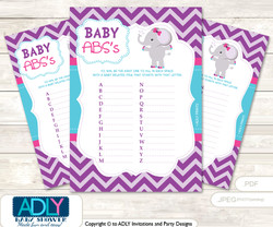Purple Elephant Baby ABC's Game, guess Animals Printable Card for Baby Elephant Shower DIY –Pink