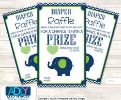 Boy Elephant Diaper Raffle Printable Tickets for Baby Shower, Green, Blue