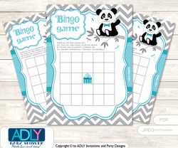 Printable Teal Grey Panda Bingo Game Printable Card for Baby Boy Shower DIY grey, Teal Grey, Chevron