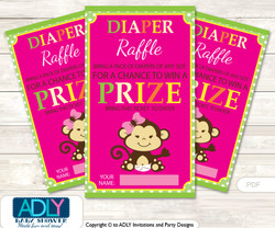 Girl Monkey Diaper Raffle Printable Tickets for Baby Shower, Hot Pink, Jungle