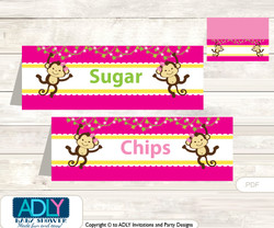 Printable Girl Monkey Buffet Tags or Food Tent Labels  for a Baby Shower or Birthday , Hot Pink, Jungle