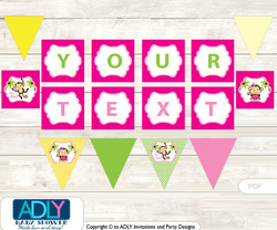 Copy of Printable Girl Monkey Cupcake, Muffins Wrappers plus Thank You tags for Baby Shower Hot Pink, Jungle