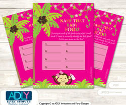 Girl Monkey Guess Baby Food Game or Name That Baby Food Game for a Baby Shower, Hot Pink Jungle