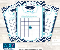 Printable Teal Blue Beau Bingo Game Printable Card for Baby Mustache Shower DIY grey, Teal Blue, Chevron