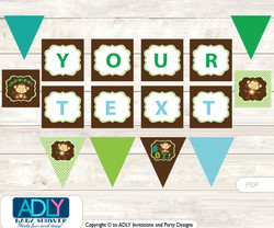 Personalized Boy Monkey Printable Banner for Baby Shower, Brown Lime, Jungle