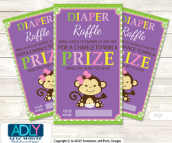 Purple Monkey Diaper Raffle Printable Tickets for Baby Shower, Pink, Jungle